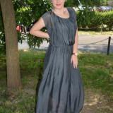 Rochie gri din vascoza si matase fina, model lung fara maneci (Culoare: GRI, Marime: 38) - Rochie de zi