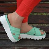 Papuc de vara in tendinte, cu talpa alba si barete turcoaz (Culoare: TURCOAZ, Marime: 39) - Papuci dama