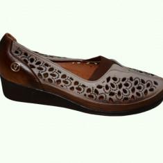 Pantof confortabil de primavara-vara, nuanta maro, cu perforatii (Culoare: MARO, Marime: 39) - Pantof dama