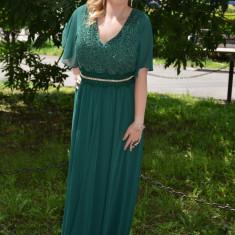 Rochie speciala de ocazie, nuanta verde, lunga cu maneca scurta (Culoare: VERDE, Marime: 54)