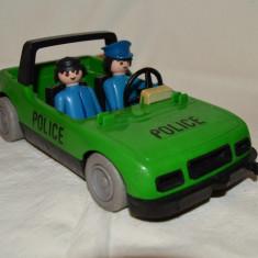 Masina politie Playmobil System Geobra 1976 + 2 omuleti - Jucarie de colectie