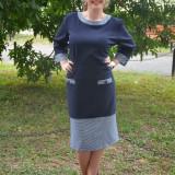 Rochie bleumarin de zi cu maneca trei-sferturi si design pepit (Culoare: BLEUMARIN, Marime: 54)