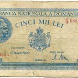 5000 LEI 1944, 15 DECEMBRIE, stare F - Bancnota romaneasca
