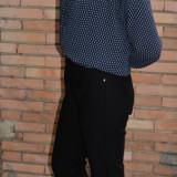 Pantalon casual cu design de buzunare, din material elastic negru (Culoare: NEGRU, Marime: 56) - Pantaloni dama