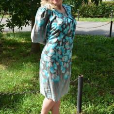 Rochie trendy, masura mare, material subtire cu flori turcoaz (Culoare: TURCOAZ, Marime: 44) - Rochie de zi, Scurta, Bumbac