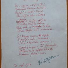 Poezie in manuscris, Victor Eftimiu ; Renasterea, 1954, mason, aroman - Autograf