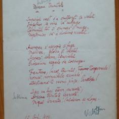 Poezie in manuscris, Victor Eftimiu ; Sublima trinitate, 1954, aroman, mason - Autograf