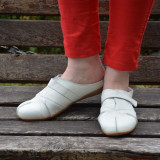 Papuc confortabil de dama, de nuanta alba, bareta cu scai (Culoare: ALB, Marime: 39) - Papuci dama