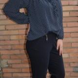 Pantalon casual in nuanta bleumarin, cu talie de inaltime medie (Culoare: BLEUMARIN, Marime: 48) - Pantaloni dama