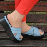 Papuc simplu cu talpa groasa, din piele moale, nuanta albastra (Culoare: ALBASTRU, Marime: 37) - Papuci dama