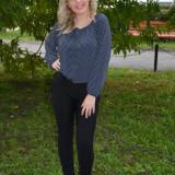Pantalon modern, nuanta neagra, model casual, cambrat pe picior (Culoare: NEGRU, Marime: 38) - Pantaloni dama