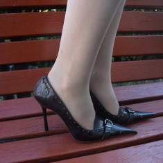 Pantof elegant cu toc inalt, varf ascutit, maro din piele naturala (Culoare: MARO, Marime: 37) - Pantof dama