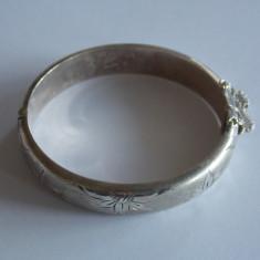 Bratara de argint vintage gravata cu flori -495 - Bratara argint