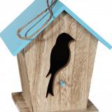 Casuta din lemn decorativa pentru pasari - diverse culori, 19 x 16 cm, Radar 144175