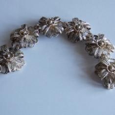 Bratara de argint flori in filigran -1232 - Bratara argint