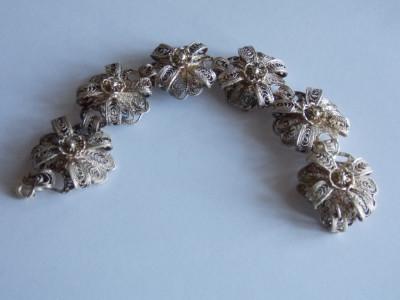 Bratara de argint flori in filigran -1232 foto