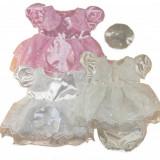 Rochita ocazie din satin bebelusi - Floricele brodate