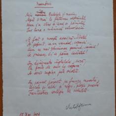 Poezie in manuscris, Victor Eftimiu ; Noembrie, 1954, mason, aroman - Autograf