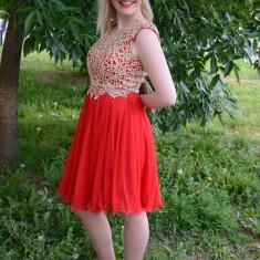 Rochie de seara din tul si dantela, de culoare rosie cu auriu (Culoare: ROSU, Marime: 44), Scurta