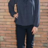 Pantalon simplu cu talie de inaltime medie, de culoare bleumarin (Culoare: BLEUMARIN, Marime: 46) - Pantaloni dama