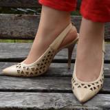 Sanda bej, model casual, varf inchis cu forma ascutita, toc cui (Culoare: BEJ, Marime: 35) - Pantof dama