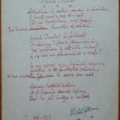 Poezie in manuscris, Victor Eftimiu ; Nainte ! Incotro ?, 1954, mason, aroman - Autograf
