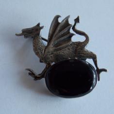 Brosa de argint vintage- dragon cu onix -1219 - Brosa argint