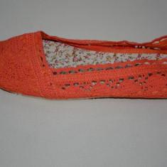 Balerin rafinat de vara, material crosetat, de nuanta portocalie (Culoare: PORTOCALIU, Marime: 41)