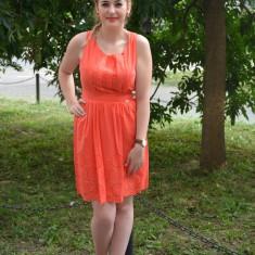 Rochie tinereasca din bumbac, culoare corai, model scurt, lejer (Culoare: CORAI, Marime: 36) - Rochie de zi, Fara maneca