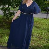 Rochie lunga, model fashion cu dantela si voal nuanta bleumarin (Culoare: BLEUMARIN, Marime: 50) - Rochie de seara, Maxi