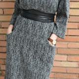 Rochie trendy de toamna-iarna, culoare neagra, cu buzunare mari (Culoare: NEGRU, Marime: 48) - Rochie de zi