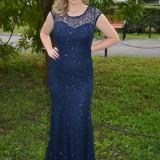 Rochie fashion de ocazie, culoare bleumarin, din material paietat (Culoare: BLEUMARIN, Marime: 44)