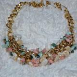 Colier chic cu design modern, cristale, pietre semipretioase colorate (Culoare: BLEUMARIN)