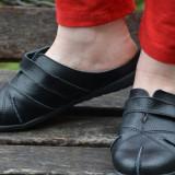 Papuc de zi din piele naturala neagra, cu talpa joasa, flexibila (Culoare: NEGRU, Marime: 40) - Papuci dama