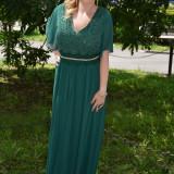 Rochie speciala de ocazie, nuanta verde, lunga cu maneca scurta (Culoare: VERDE, Marime: 52)