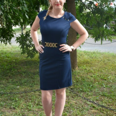 Rochie de zi de culoare bleumarin cu design de centura in talie (Culoare: BLEUMARIN, Marime: 38), Scurta, Poliester