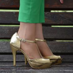 Sanda clasica tip pantof cu platforma, piele ecologica aurie (Culoare: AURIU, Marime: 39) - Sandale dama