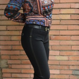 Pantalon lung de culoare neagra cu insertii de piele ecologica (Culoare: NEGRU, Marime: 44)