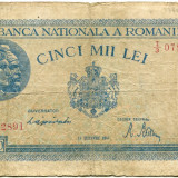 5000 LEI 1944, 15 DECEMBRIE [2] stare F - Bancnota romaneasca