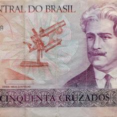 BRAZILIA 50 Cruzados 1986-1988, stare XF - bancnota america