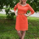 Rochie tinereasca, scurta, dantela nuanta corai, masura mare (Culoare: CORAI, Marime: 44) - Rochie ocazie