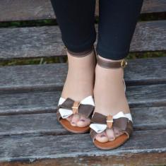 Sanda tinereasca de vara, din piele naturala, nuanta maro-bej (Culoare: MARO-BEJ, Marime: 38) - Sandale dama