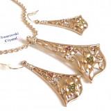 Set bijuterii(colier + pandantiv + cercei) placat cu Aur 18k si Swarovski- 1483