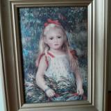 Stampa pe panza, portret fetita, reproducere Renoir - Pictor strain, Pierre-Auguste Renoir, Portrete, Cerneala, Impresionism