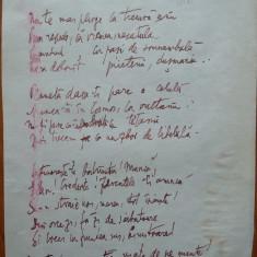 Poezie in manuscris, Victor Eftimiu ; Minti-vom moartea, 1910, mason, aroman - Autograf