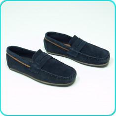 NOI, DE FIRMA _ Pantofi / mocasini DIN PIELE, comozi, ZARA _ baieti | nr. 35 - Pantofi copii Zara, Culoare: Bleumarin, Piele intoarsa