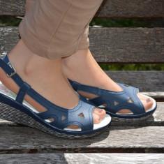 Sanda de vara, din piele bleumarin cu talpa ortopedica usoara (Culoare: BLEUMARIN, Marime: 37) - Sandale dama