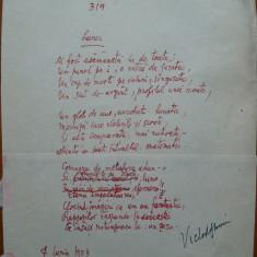 Poezie in manuscris, Victor Eftimiu ; Lunei, 1954, mason, aroman - Autograf