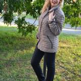 Jacheta scurta de toamna, nuanta bej, disponibila in masuri mari (Culoare: BEJ, Marime: 52)