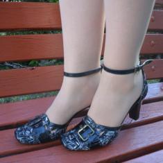 Sanda de vara, piele naturala neagra cu toc inalt, bareta la glezna (Culoare: NEGRU, Marime: 39) - Sandale dama